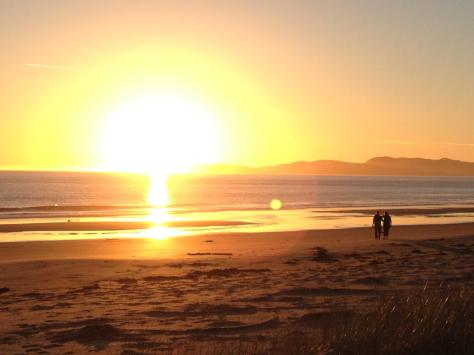 Spectacular sunset on the beach.