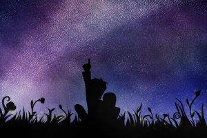 Stargazing Together by DeviantArt user WolfsMoonrise